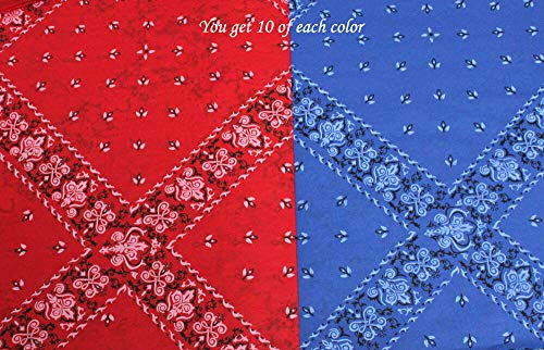 (Primitive & Country Style 20 Sheets (10 of Each Color) ~ Red & Blue Bandana Tissue Paper ~ Western Theme Rustic Home Decor)
