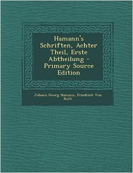 Book Hamann's Schriften, Achter Theil, Erste Abtheilung - Primary Source Edition