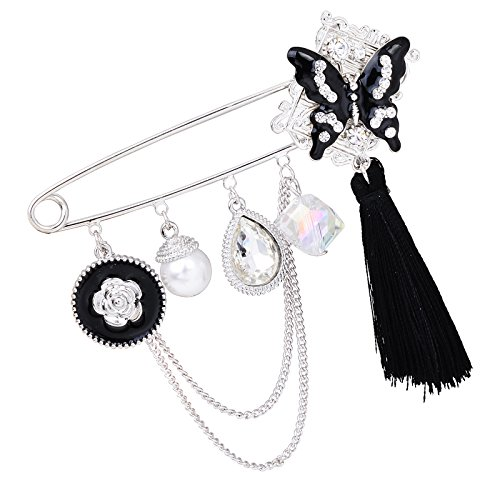 Fenni Black Enamel Crystal Butterfly Large Safety Pins Brooch with Tassel Camellia Pearl Charm 3.2