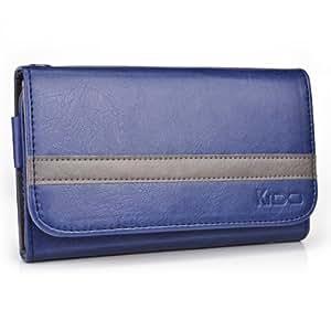 Dark Blue - Grey Kroo Universal Smartphone Wallet Case with Belt Loop fits HTC One X+