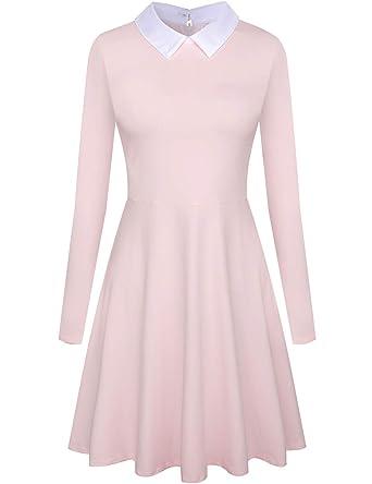 2ec13aa44 Aphratti Women's Long Sleeve Casual Shirt Peter Pan Collar Flare Dress  X-Large Pink