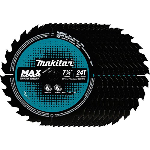(Makita B-61656-10 24T Carbide-Tipped Max Efficiency Circular Saw Blade, Framing, 7-1/4
