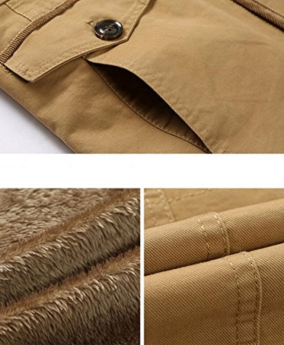 Avec Frc8808 Kaki Mens Winter Fur Faux Hooded Hiver Jiinn Manteaux Confortable Coat Capuche Rembourrée Veste Homme Fourrure Parka Lined Épais Jacket Cotton Chaud xaBaYT1q