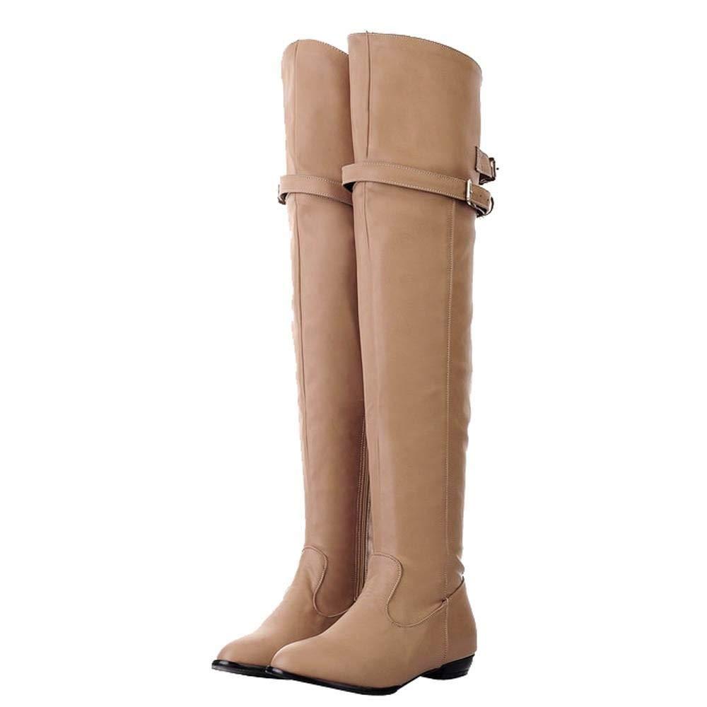 Logobeing Botas Altas Mujer Tacon Botines Mujer Planos de Hebilla Botas de Mujer Botas Largas Botas de Caballero Zapatos Combat (35,Beige): Amazon.es: ...