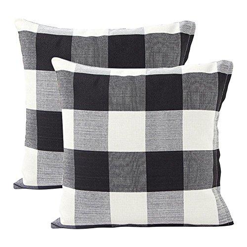 Black And White Checker (BLEUM CADE Black White Retro Checkers Plaids Cotton Linen Square Throw Pillow Cover Decorative Cushion Cover Pillowcase Cushion Case, Set of 2)