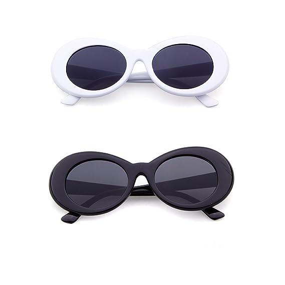0add7444e656e Retro Oval Mod Thick Frame Clout Goggles Kurt Cobain Sunglasses  (white-grey )  for Christmas
