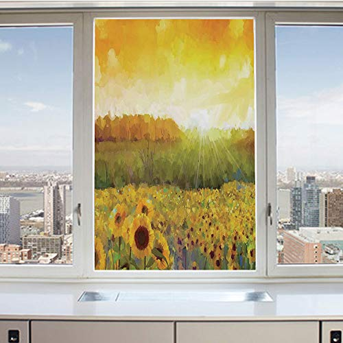 (3D Decorative Privacy Window Films,Landscape Art with A Golden Sunflower Field and Distant Hill At Sunset Warm Colors,No-Glue Self Static Cling Glass film for Home Bedroom Bathroom Kitchen Office 17.5)