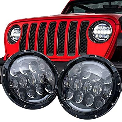105W Brightest OSRAM 7'' Inch Round Black Led Headlights with White/amber Turn Signal DRL for Jeep Wrangler JK/TJ and Hummer with H4&H13 Adapter(Black Pair): Automotive