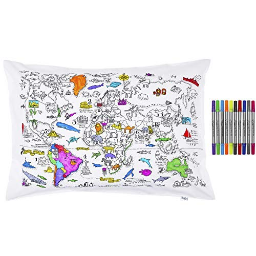 Doodle World Map Pillowcase, Color Your Own Pillow Case, Coloring Pillowcase with 10 Washable Fabric Markers (Best Case In The World)