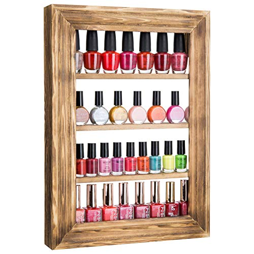 MyGift Wall-Mounted Burnt Wood 4-Tier Nail Polish & Essential Oil - Essential Oils Nails