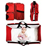3 in 1 Diaper Bag - Travel Bassinet - Change Station - Multi-purpose,A Lounge to go, Tote Bag, Infant Carrycot, Nursery Porta Crib (Red)