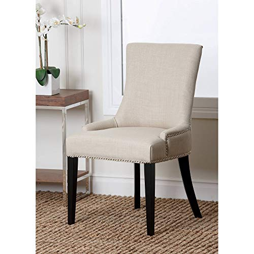 Classy Elegant with Pristine Lines Easy Care Durable Very Comfy and Sturdy Laguna Fabric Nailhead Trim Dining Chair, White - Adds A Touch of Class to Any Dining Or Living Room Setting ()
