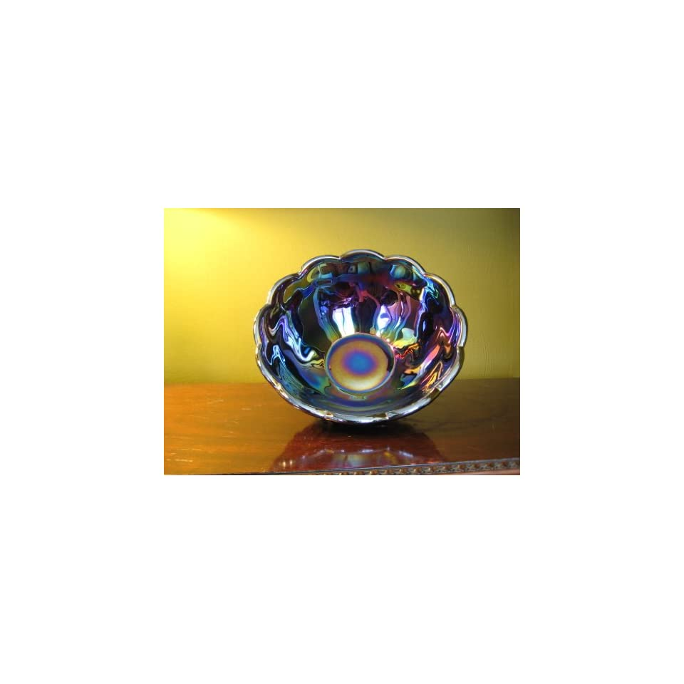 Cobalt Blue Carnival Glass Footed Dahlia Lemonade Pitcher