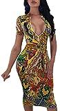 Women-Sexy-V-Neck-Pencil-Dress-Elegant-Unique-Colorful-Floral-Short-Sleeve-Stretchable-Bussiness-Suiting-Casua