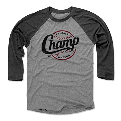 Champ 3/4 Sleeve Raglan Shirt - 500 LEVEL Fantasy Baseball 3/4 Sleeve Tee Shirt - XXX-Large Black/Heather Gray - Fantasy Baseball Champ Threads