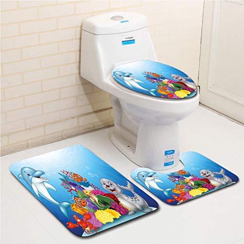 Family bathroom set of 3, bathroom rug + contour pad + lid toilet seat Aquarium,Happy Adorable Tropical Ocean Animals on Coral Reef Cartoon Style Sea Wildlife Decorative,Multicolor flannel carpet -