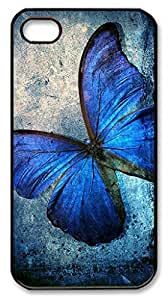 Art Blue Butterfly Shell Case for iPhone 4 4S 4G,Customized Black Hard Plastic Back Cover for iPhone 4 4S 4G wangjiang maoyi