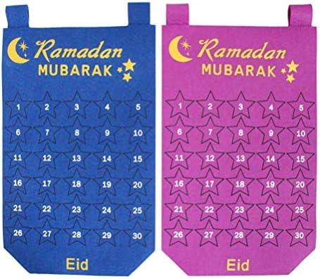 Amosfun 2 Stücke Ramadan Kalender Countdown Advent Kalender Countdown Kalender Wandbehang Dekoration für Home Office Dekoration (Lila Blau)