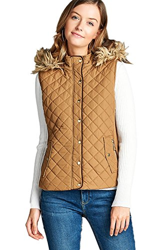 Beige Womens Quilted Vest (Active USA Quilted Padding Vest With Fur Trimmed Hood (Camel-Small))