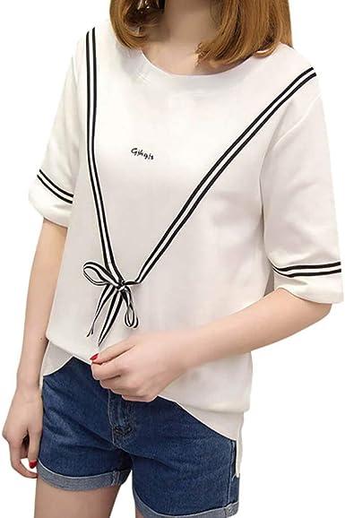 VEMOW Camisetas Manga Corta Mujer Tops Blusas Ocio O-Cuello ...