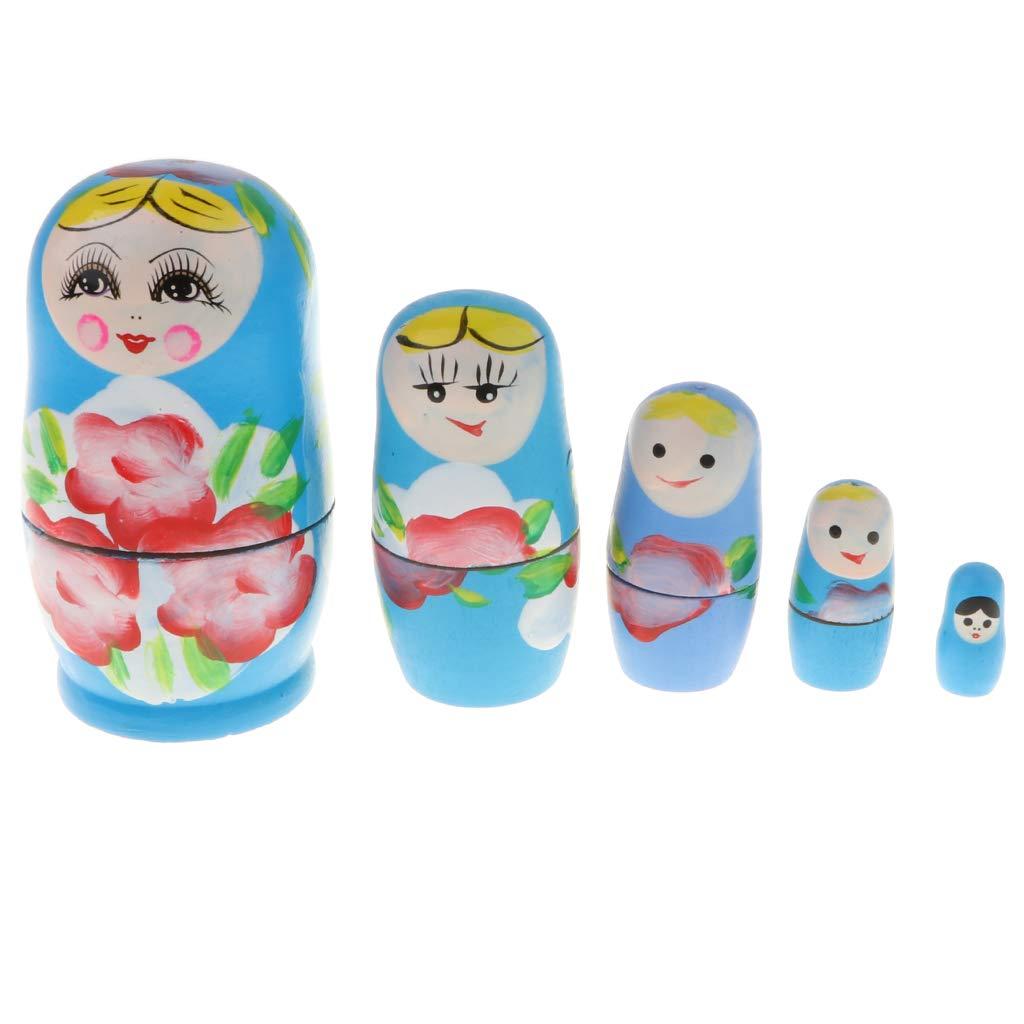 Blue 5pcs Handmade Wooden Russia Nesting Babushka Dolls Gift Russian Nesting Wishing Dolls Matryoshka Traditional Decor