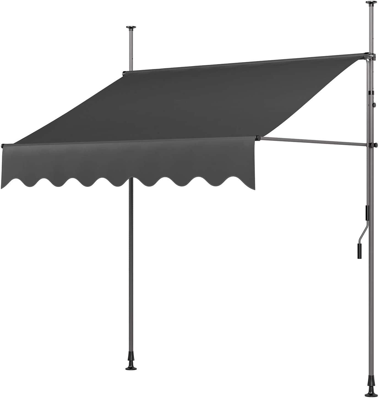 MVPower Toldo Articulado con Armazón, Terraza Balcón Toldo Extensible, Resistente a Los Rayos UV,200 x 120 cm, Gris