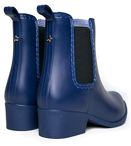 Boot Navy Heel Low J Bootie Jelly Chelsea Slip Casual Adams Matte On Ankle Kaden Rain qBx0C0Otw