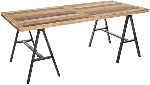 Mesa de Comedor de Madera marrón rústica para salón Factory - LOLAhome: Amazon.es: Hogar