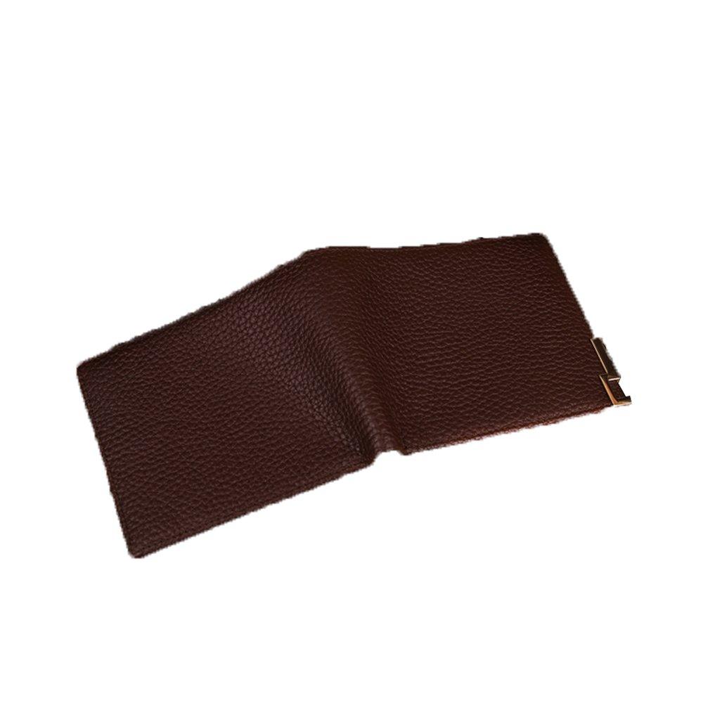 Herren Yamyannie Herren Geldbörse Münzfach Herren Leder Short 2 Fold Wallet Litchi Muster Erwachsenen Geldbörse Kreditkarten-Halter Geldbeutel Münzfach