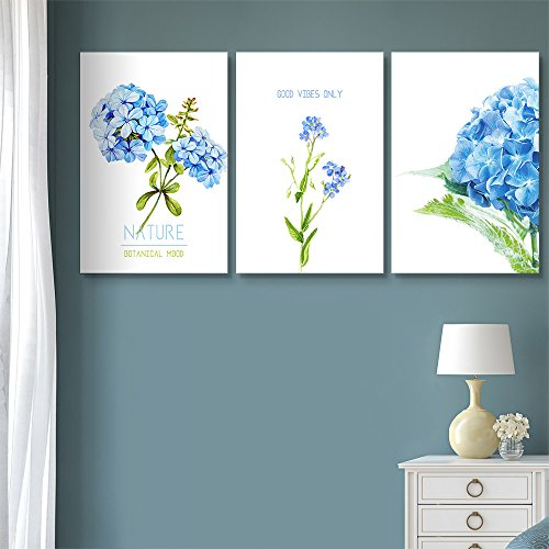 3 Panel Blue Flowers with Good Vibes Only Quotes Gallery x 3 Panels