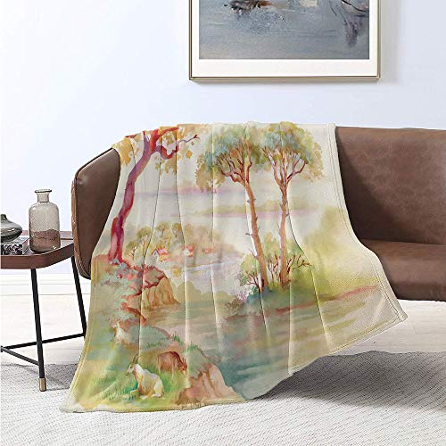 Jecycleus Landscape, Warm Microfiber All Season Blanket, Summer Landscape Goats Sheep Eating Woodsy Shrubs Grass Composition, Oversized Travel Throw Cover Blanket 60x50 Inch Cream Green Brown