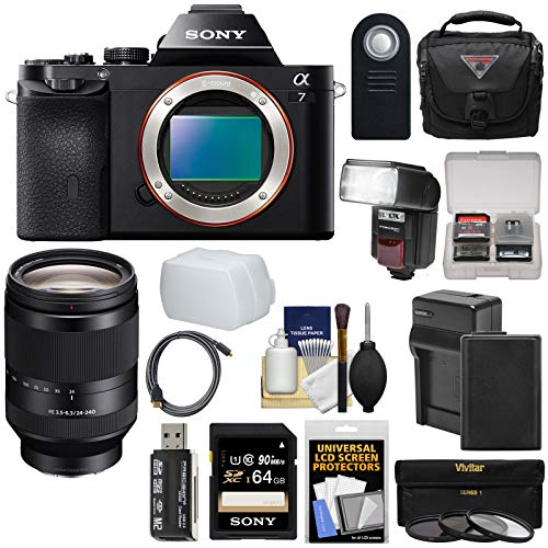 (Sony Alpha A7 Digital Camera Body (Black) FE 24-240mm OSS Lens + 64GB Card + Battery + Charger + Case + Flash + 3 Filters + Kit)