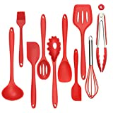 Silicone Kitchen Utensil 10-Pack Set, Silicone Heat-Resistant Non-Stick Kitchen Utensils Cooking Tools,BPA Free,Red