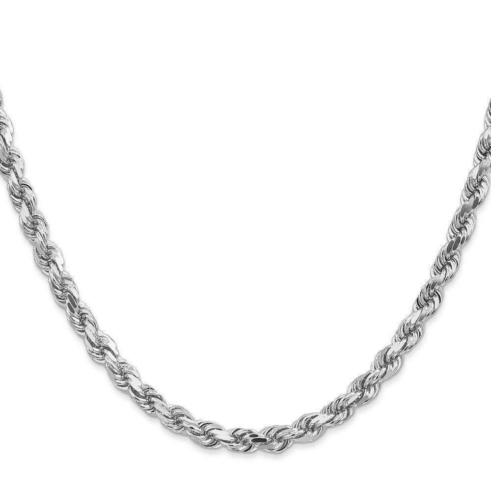 14k Solid White Gold 5mm D/C Rope Chain Necklace 22 inches