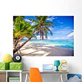 Wallmonkeys Coconut Palm Tree White Wall Mural Peel and Stick Graphic (72 in W x 48 in H) WM133266