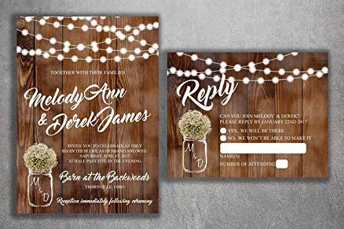 Country Wedding Invitations Set Printed, Rustic Wedding Invitation, Burlap, Kraft, Wood, Lights, Outside, Southern, Mason Jar, ()