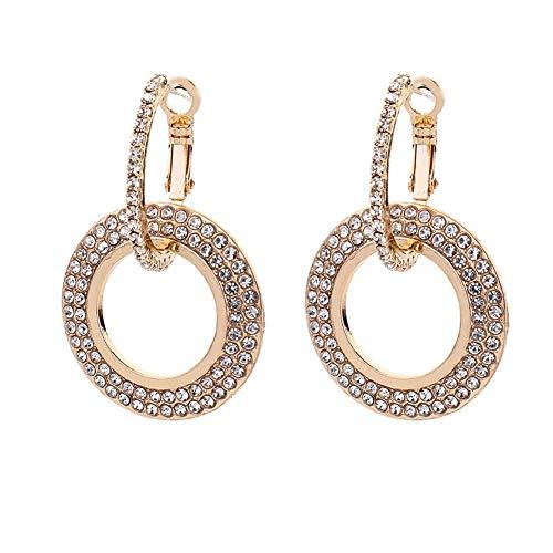 Himpokejg Women's Fashion Rhinestone Double Circle Hoop Earrings Party Jewelry Charm - Golden