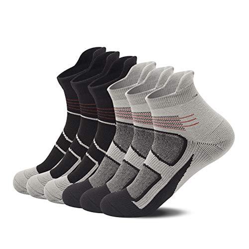 ThemeDesigner Mens Running Athletic Socks Black Grey Gray Crew Quarter Low Cut No Show Ankle Tab Dry Nylon Run Winter Sock 6 Packs-TD05