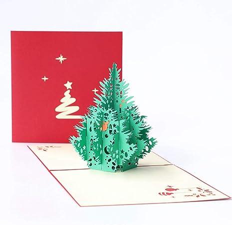 Zaaq 3 Pcs Cartes De Noel Imprimer Sapin De Noel Tridimensionnel