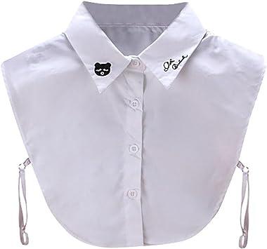 Embroid falso collar, hunpta Mujer Nuevo oso de peluche, bordada blusa falso cuello camisa de la ropa extraíble), blanco: Amazon.es: Deportes y aire libre