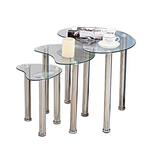BOJU Lot de 3 Tables gigognes en Verre pour Salon ou Table Basse