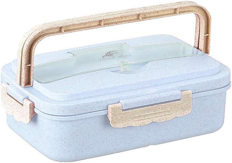 BIKITIQUE Fiambrera de tres rejillas fiambrera port/átil de paja de trigo con cuchara de acero inoxidable y palillos