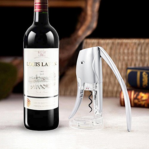 Wine Opener with Foil Cutter Votron Bottle Opener Elephant Corkscrew Two Seconds Speed Open Bottle Dining & Bar Cooking Tools for Sommeliers,Waiters and Bartenders-Silver