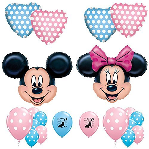 Combined Brands Mickey and Minnie Mouse Gender Reveal Baby Shower Balloon Decoration Kit -