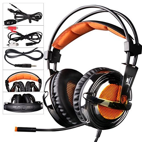 SADES SA928 Professionelle Surround Sound Stereo PC Gaming Headset Kopfhörer mit Mikrofon für XBOX PS3 PC Handy iPhone iPad Musik