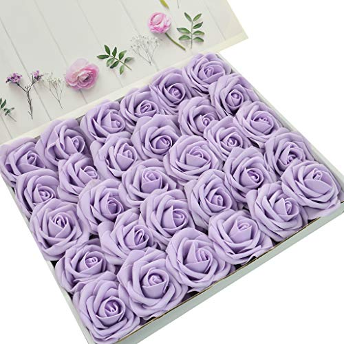 DerBlue 60pcs Artificial Roses Flowers Real Looking Fake Roses Artificial Foam Roses Decoration DIY for Wedding Bouquets Centerpieces,Arrangements Party Baby Shower Home Decorations (Lilac) ()