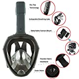 Folding Diving Mask,MeiLiio Foldable 180 Panoramic View Free Breathing Full Face Snorkeling Mask,Foldable Adjustable Head Straps Snorkel Mask Training Dive Equipment Kids(S/M,Gray)