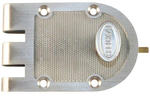 Maxtech LKJP1001-26D Satin Chrome US26D Single Cylinder Solid Bronze Jimmy Proof Deadlock Deadbolt Lock Set With Flat Strike