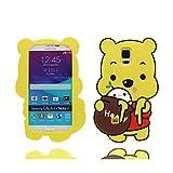 Samsung Note 4 Case, [ 3D Cartoon Cute cover Bear Loves Honey ], Soft TPU en caoutchouc Bear Honey Couverture étui de protection Coque pour Samsung Galaxy Note 4 Case -yellow