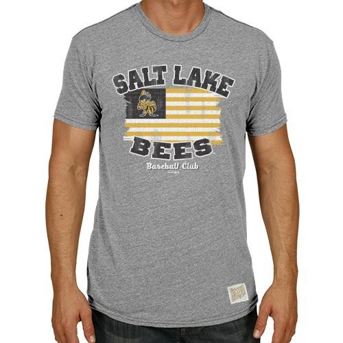 Original Retro Brand Minor League Baseball Salt Lake Bees Men's T-Shirt, Small, Grey Heather by Original Retro Brand